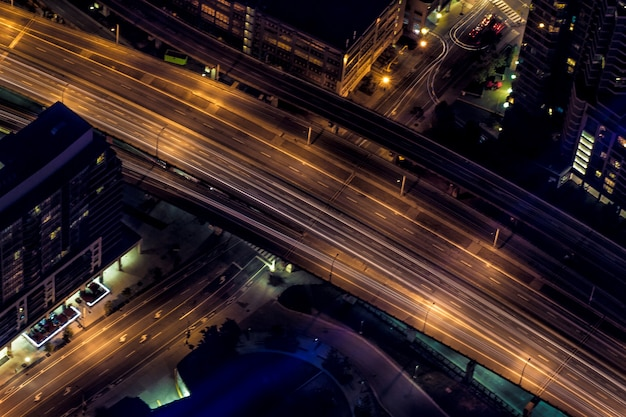 Aerial shot of urban city highway at night