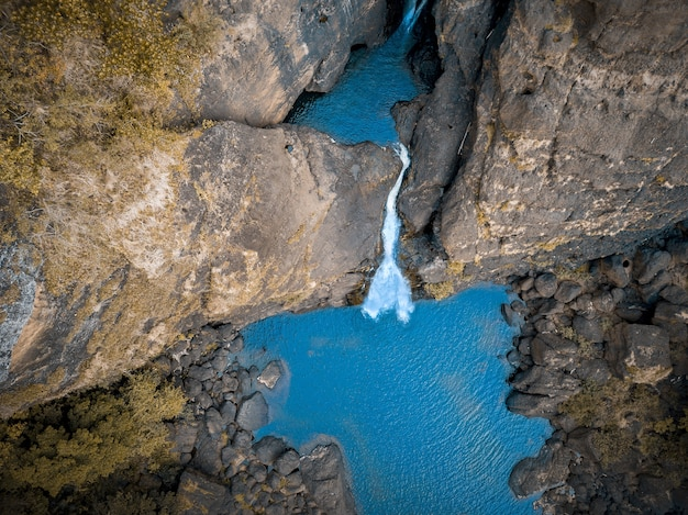 Aerial shot of a waterfall in papua new guinea