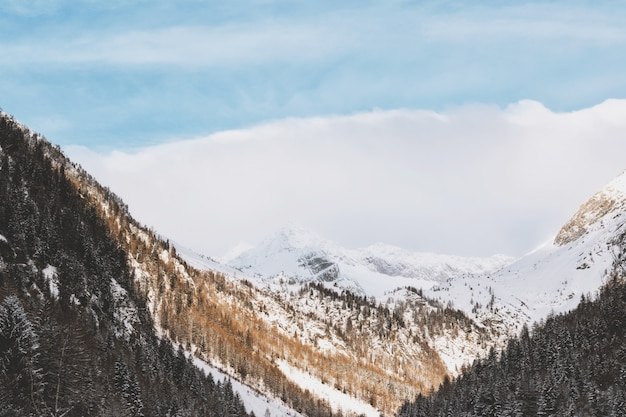 Aerial   of snowy mountain