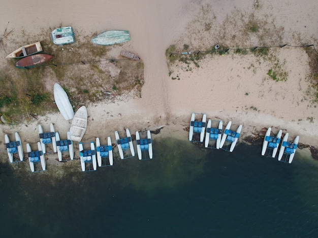Aerial summer view of empty beach of lake. drone photo.