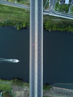 Aerial symmetric shot of a bridge
