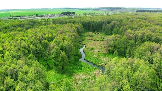 Антенна. река течет в сторону деревни между зеленым лесом.