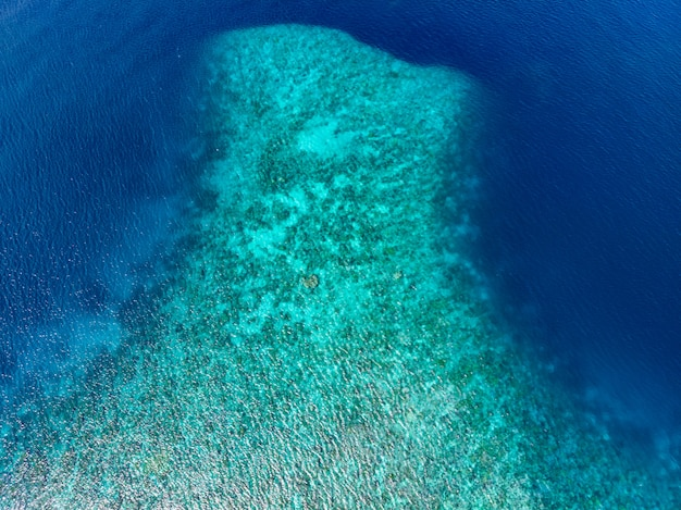 Aerial top down coral reef tropical caribbean sea, turquoise blue water. indonesia