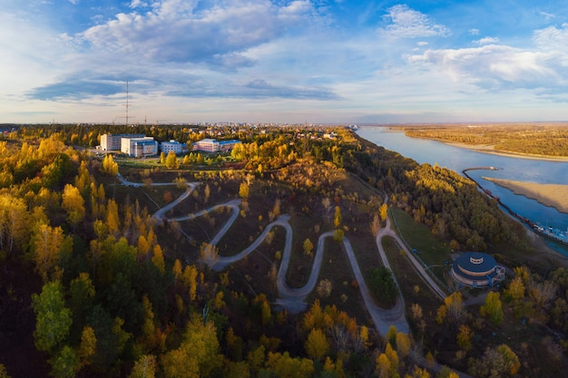 Aerial top vew of winding road in the city