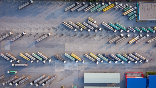 Aerial top view automobile or automotive fuel tankers business and industry fuel