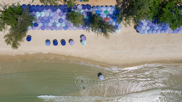 Aerial top view of beautiful beach at morning in thailand