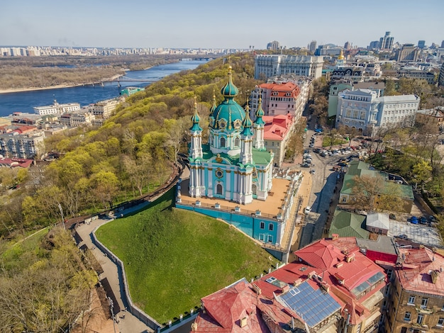 Aerial top view by drone of st. andrew's church in kiev city.