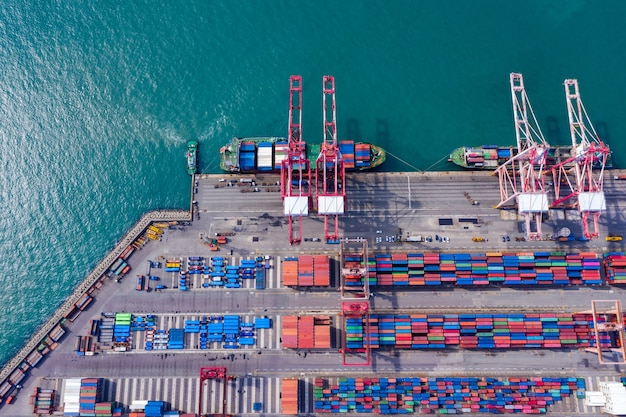 Aerial top view container cargo ship in import export business logistic and transportation.