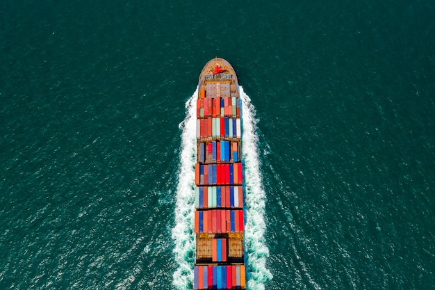 Aerial top view container cargo ship and import export business service