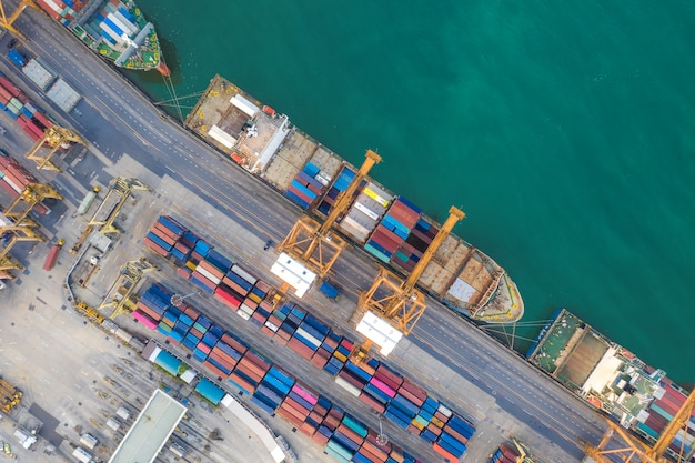 Aerial top view container cargo ship working