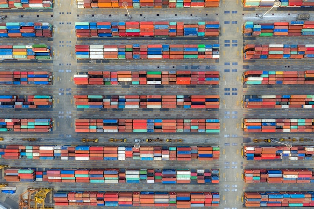 Aerial top view container cargo ship working.