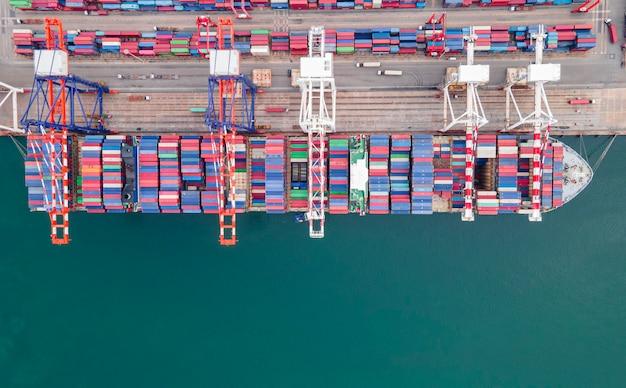 수입 수출 비즈니스 물류 포트에서 공중 평면도 컨테이너 선박 화물