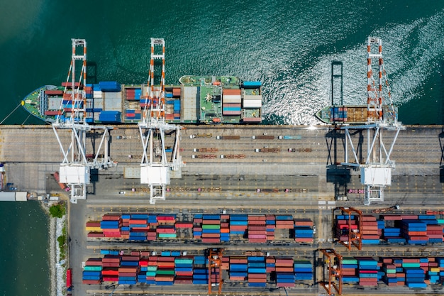 Aerial top view containers terminal and shipping loading containers