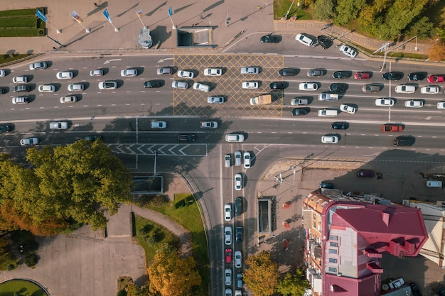 Aerial top view of crossroads with car traffic modern urban intersections and junctions