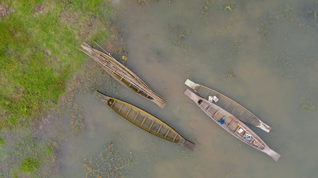 Aerial top view of fishing boat in thailand