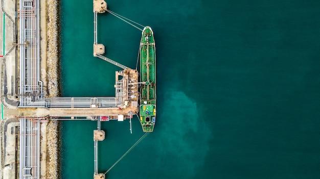 Aerial top view of green oil tanker cargo vessel under cargo