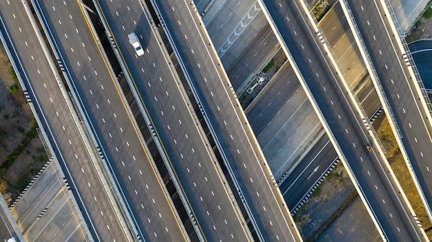 Aerial top view of highway