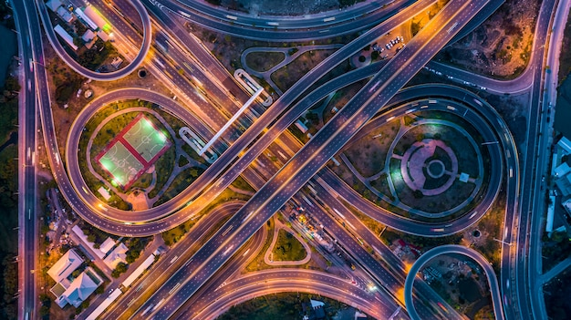 Aerial top view interchange of a city at night