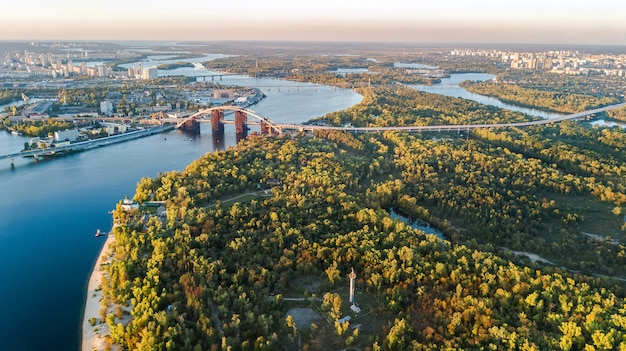 Aerial top view of kyiv, dnieper river and truchaniv island from above