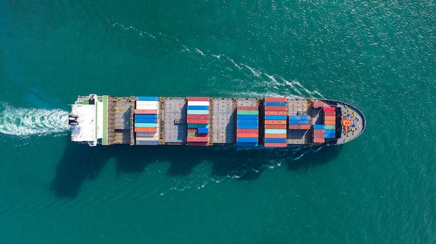 Aerial top view of large container cargo ship in export and import business and logistics at sea