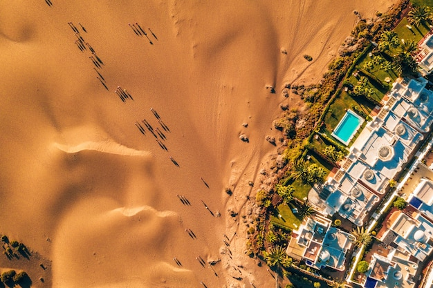 Aerial top view of maspalomas dunes on gran canaria island, spain