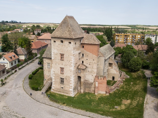 Aerial top view to medieval castle of simontornya, hungary