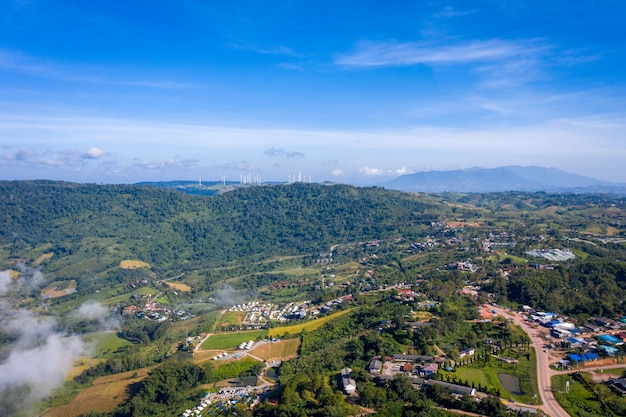 Aerial top view of mountain and mist in khao kho at the morning. phetchabun thailand.