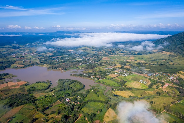 Aerial top view of mountain and mist in khao kho at the morning, phetchabun thailand.
