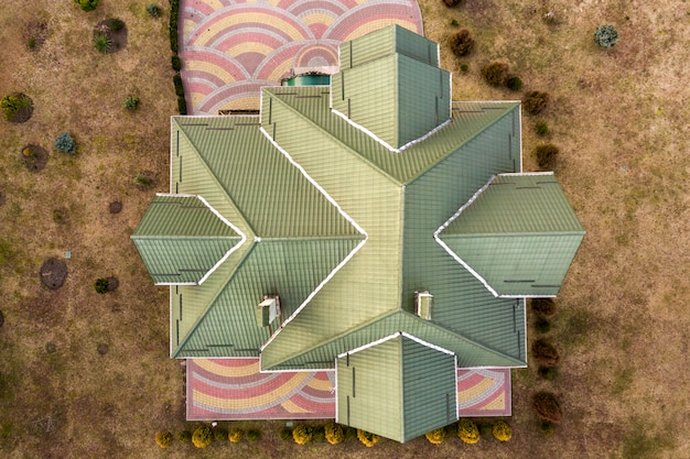 Aerial top view of new residential house roof.