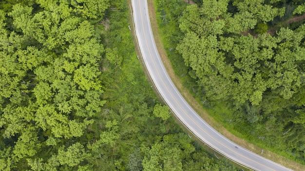 Вид сверху на провинциальную дорогу, проходящую через лес