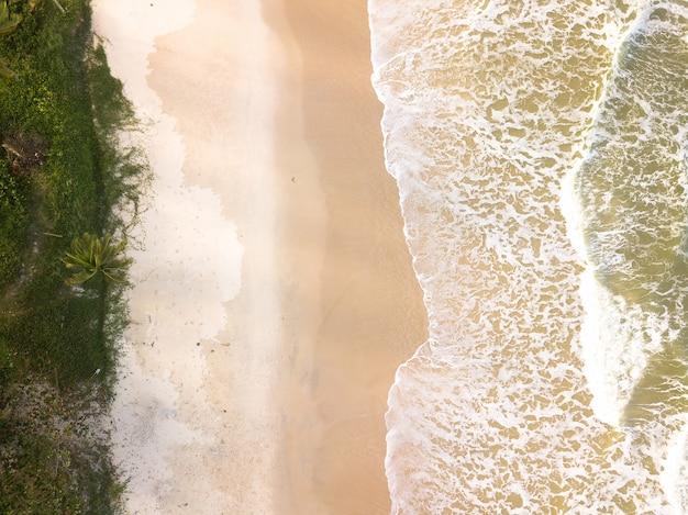 見事な波と砂浜の空中上面図。