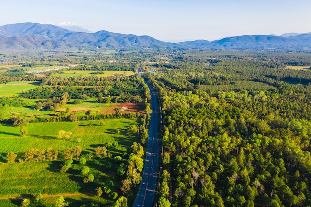 Aerial top view pine forest utopia and agricultural area with long road connecting the city in chiang mai thailand at morning time