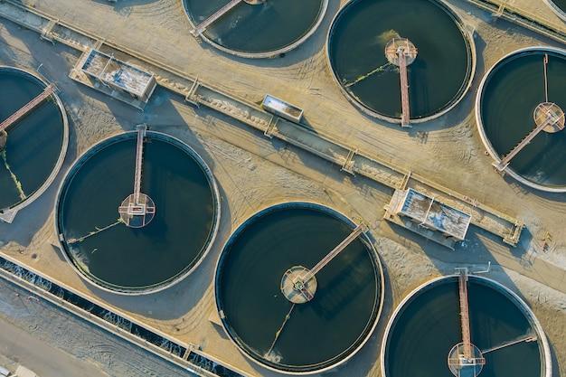 空中上面図再循環沈殿槽、水処理プラント