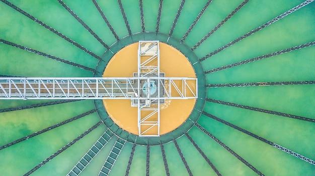 Aerial top view recirculation solid contact clarifier sedimentation tank