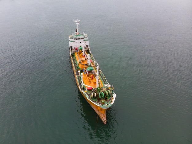 Aerial top view of sea freight, crude oil tanker lpg ngv at industrial estate thailand