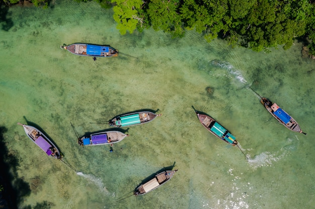 Aerial top view  tourists boat