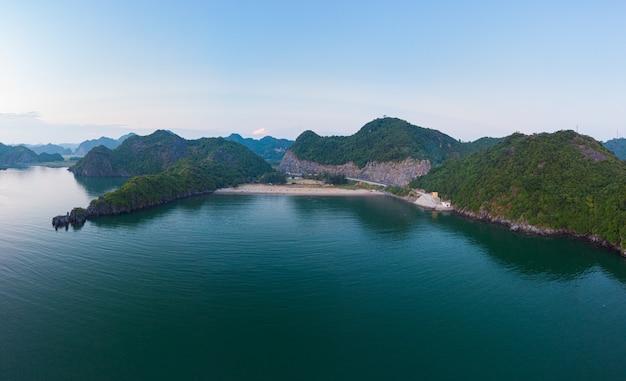 Aerial unique view vietnam cat ba island in halong bay