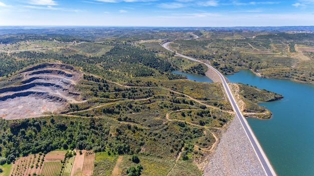 Aerial. videography of drone, reservoir dam odeleite. portugal
