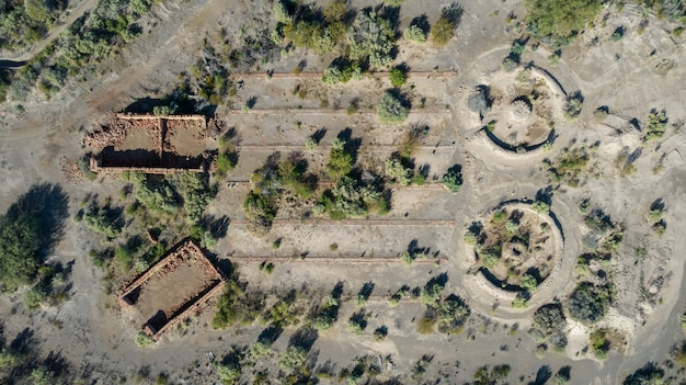 Aerial view of abandoned mud brick factory.