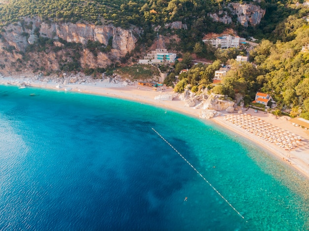 Aerial view of the adriatic coast, drone shot