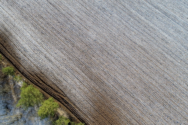 Aerial view of an agricultural field in the countryside
