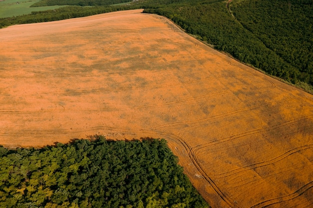 Aerial view of agricultural lands with multiple crops geometric figures of different colors