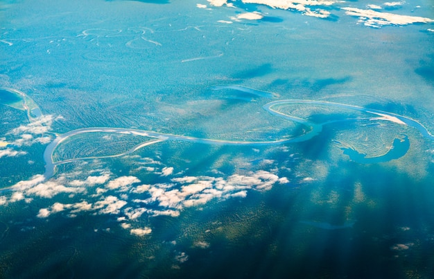 Aerial view of the amazon river in peru