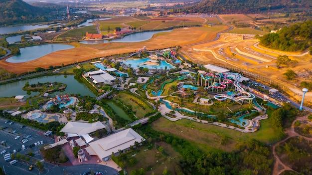 Aerial view of amusement park in pattaya, chonburi thailand. ramayana water park in pattaya, thailand.