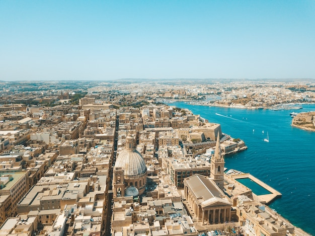 Aerial view of the ancient capital city of valletta, malta