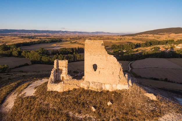 Aerial view of ancient castle ruins in burgos province, castile and leon, spain.