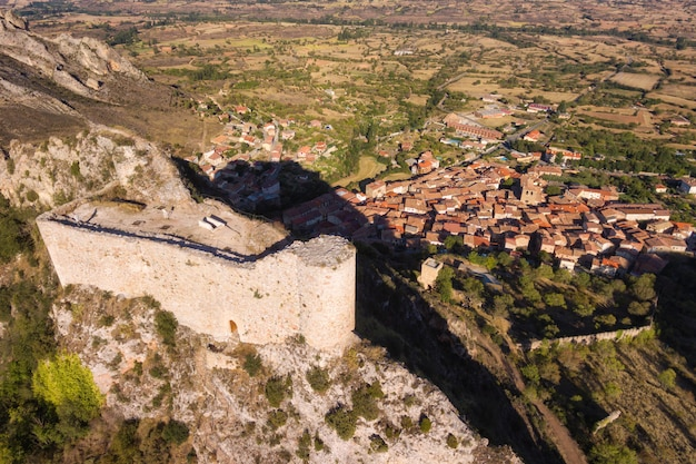 Aerial view of ancient ruins of poza de la sal castle in burgos, castile and leon, spain.