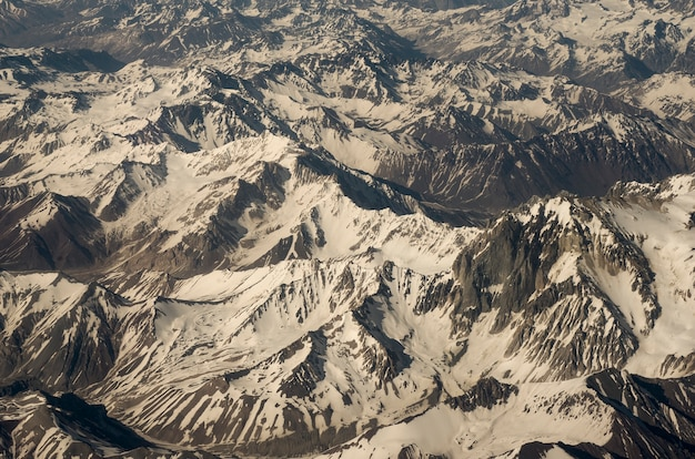 Aerial view of andes range in chile