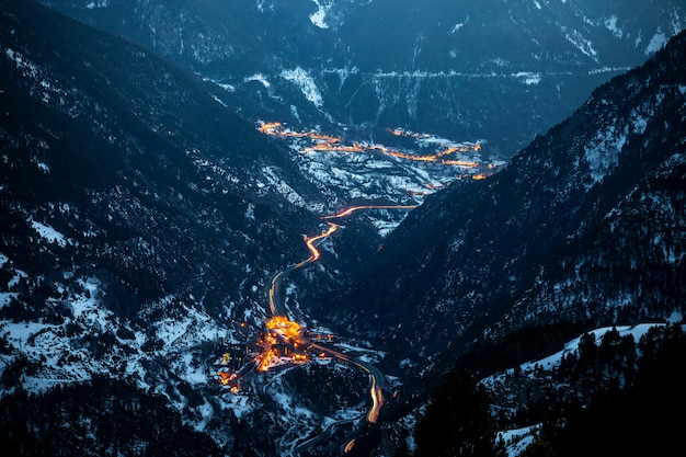 Aerial view of andorra at sunset