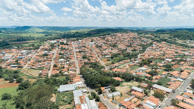 Aerial view of the arceburgo city, minas gerais / brazil.